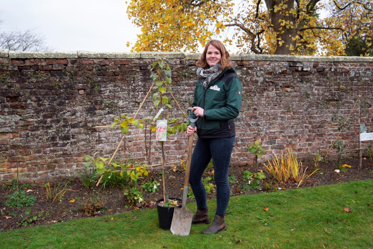 Steph James plants trees at her old school Moreton Hall